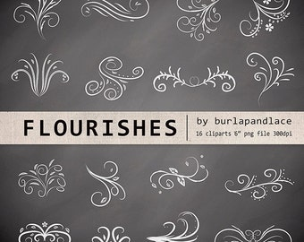 Hand Drawn chalkboard flourishes clipart, Digital clipart  frames, ornaments and elements digital, Hand Drawn Vintage Style