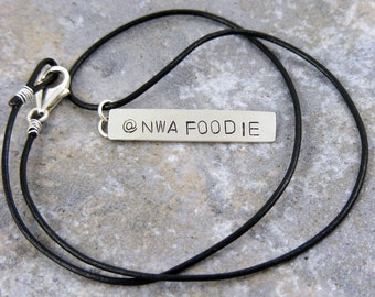 Social Media, Twitter Name, Leather Necklace, Blog Name, Sterling Silver, Handmade, Personalized