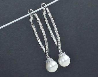 "Bridal Earrings, Cubic Zirconia Bridal Pearl Earrings, Long Bridal Pearl Earrings, Wedding Pearl Jewelry, Cubic Zirconia ""V"" Shaped Earrings"