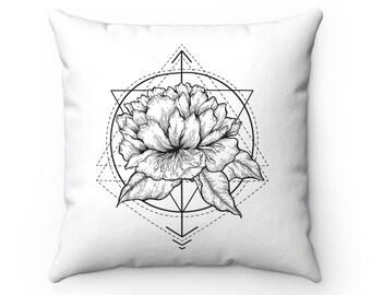 Rose Geometry Pillow Case | Boho Throw Pillow Covers | Chic Pillow Cases | Minimalist | Black & White | Floral Pillows | Apartment Decor