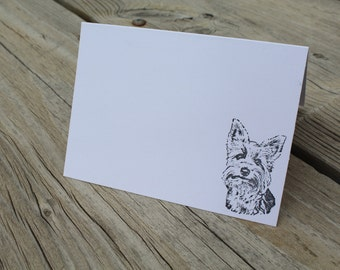 Set Of 10 Yorkie Yorkshire Terrier Note Cards