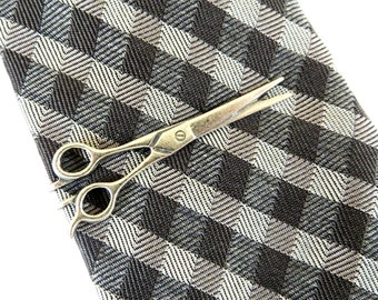 Steampunk Scissor Tie Bar Scissor Alligator Clip Sterling Silver Ox Finish Barber Shears