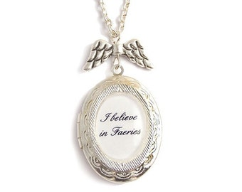 Fairytale charm necklace I believe in FAERIES fairy necklace winged Peter pan locket