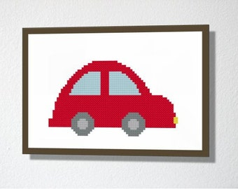 Counted Cross stitch Pattern PDF. Instant download. Car. Includes easy beginners instructions.