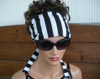 Womens Headband Fabric Headband Fashion Accessories Women Head scarf Yoga Headband in Black and White Stripes print