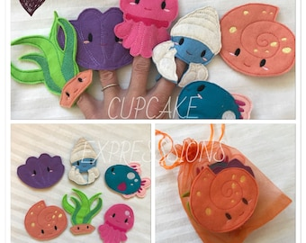 Ocean Animals Finger Puppet Set 3 - Quiet Time Play Toy - Imaginative Play - Jellyfish, Snail Seaweed Hermit Crab