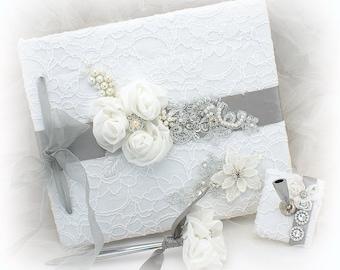 Wedding Guest Book White Silver Bridal Guestbook Signature Book Set Custom Guest Sign In Book White Memory Book