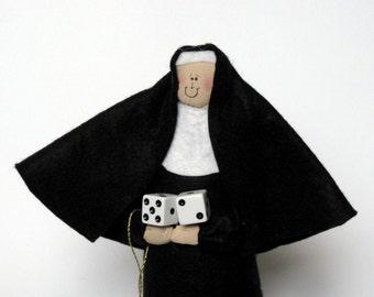 Novelty Nun doll, Gambler, Casino lover, Funny Catholic Gift, Dice Roller, Sister Holy Roller