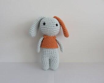 Sky blue and orange crochet dog Amigurumi