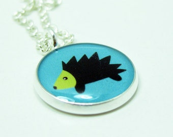 Hedgehog Necklace  - Silver Plated 17 inch