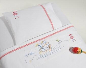Pirates,Baby bedding,Hand embroidered,Toddler bedding,Baby shower gift,Birthday gift,summer,newborn gift,Nursery gift and  bedding,Baby boy