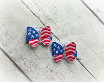 Patriotic Butterfly Hair clip 4th of July Embroidered Felt Hair Clips Pick one or two. Pick Left side or Right.