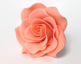 Small Peach Rose Sugar Flower Gumpaste Rose for Modern Wedding Cake Toppers, Cake Decor, DIY Weddings