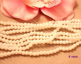 Lot 50 Crystal Bicone 4mm opaque white faceted bicone beads