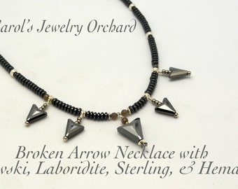 Broken Arrow Necklace. One of a Kind Swarovski Graphite Crystal Arrows with Laboradite, Hematite, and Sterling. Unique Handmade Jewelry.