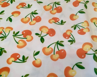 Retro Fabric, Cherries, Marimar Textiles, Stretchy Polyester