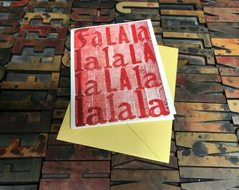 Fa La La La La La La La La La La La Card (red on red) - Individual