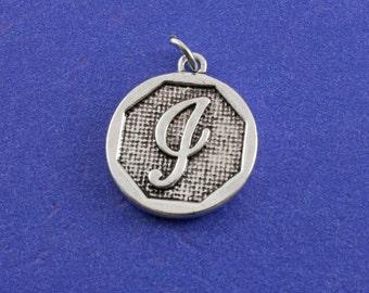 1 pcs-Initial I, I Alphabet Pendant, Antiqued Silver Letter I Coin-As-K85350H-8S