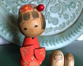 Vintage Japanese Kokeshi Wooden Doll
