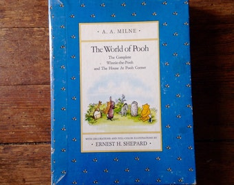 1985 The World of Pooh/ The World of Christopher Robin Hardcover Slipcase Books, A. A. Milne and Ernest Shepard. Dutton Books