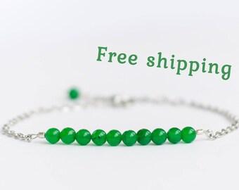 Chrysoprase bracelet, Chrysoprase jewelry, 925 Sterling silver green bracelet