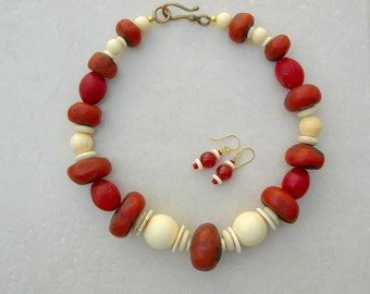 Bold Statement Necklace, Africa Meets China, Moroccan Sheep Horn & Chinese Bone Beads, Red African Trade Beads,Necklace Set by SandraDesigns