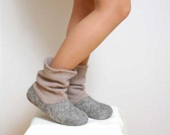 Filz-Pantoffel Stiefel grau - Bio-Wolle Filz Stiefel - gekochte wolleschuhe - Filzstiefel - Ugg Stiefel - Frauen Hausschuhe - Haus