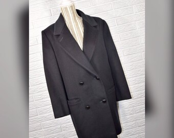 Vtg 80s Forecaster Black Wool Double Breasted Pea Coat