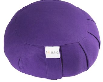 Purple Zafu Meditation Cushion, 100% Organic Cotton Cushion with Full Back Support, Durable Eco-Friendly Meditation Pillow