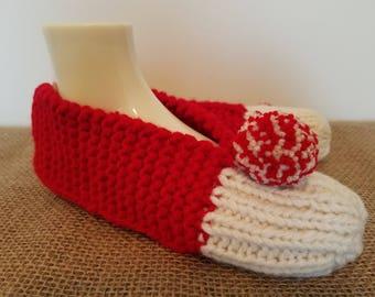Women's hand knit red & cream slippers