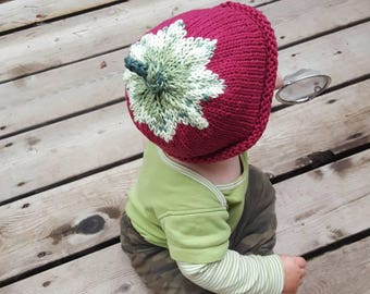 Strawberry baby hat, natural newborn hat, 3-6 month, 6-12 month,  Cotton, Baby Shower, birthday, New mom, newborn, IN-STOCK