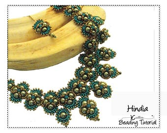 Bollywood Necklace Beading Pattern Right Angle Weave, Tierred Necklace Beading Instructions Seed Bead Necklace Jewelry PDF Tutorial,  HINDIA