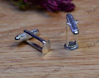 2pcs 8mm (T232) silver cufflink backings