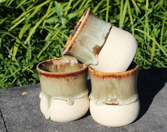 8 oz Handmade Ceramic Whiskey Cups (set of 3)