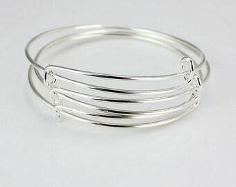 SALE - 5 pcs Silver Expandable Bangle, Adjustable Charm Bracelet, Stackable Bangle, Initial Monogram, Adjustable Wire Bangle.