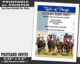 Kentucky Derby They're Off Party Invitation, Printable with Printed Option, Horse Racing Party, Equestrian Theme