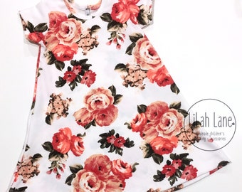 Floral Swing Dress | Summer A-Line Style Dress | Easter Sunday | Handmade Girl's Dress