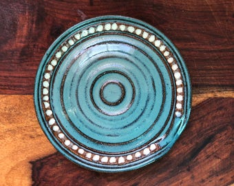 Spoon Rest in Turquoise and Cream - Ceramic Stoneware Pottery