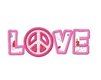 love peace applique machine embroidery design