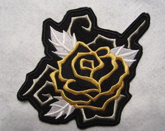 Embroidered Black And Gold Iron On Rose Patch, Rose Applique, Rose Patch, Iron On Patch, Iron On Rose Patch