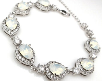 bridal bridesmaid jewelry wedding prom christmas party gift swarovski teardrop white opal crystal rhinestone cubic zirconia rhodium bracelet