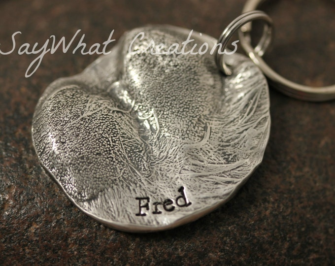 Dog Paw Impression Key Chain - your ACTUAL dog's paw in solid silver with stamped name