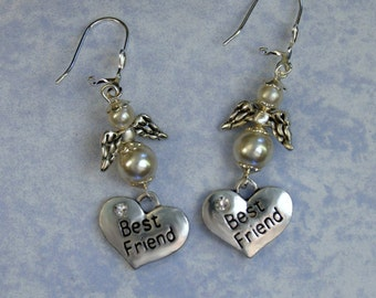 "Handmade Best Friend Pearl Angel Earrings-1 1/2"" Dangle Earrings-Silver-Rhinestone Hearts-Gift for Friend"