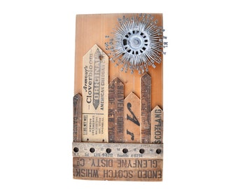 My TYPE of Town, wood wall art, mixed media assemblage, wood collage, architectural salvage, ORIGINAL ART by Elizabeth Rosen