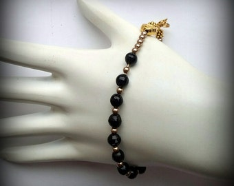 Black and Gold Rosary Bracelet - Our Lady of Perpetual Help