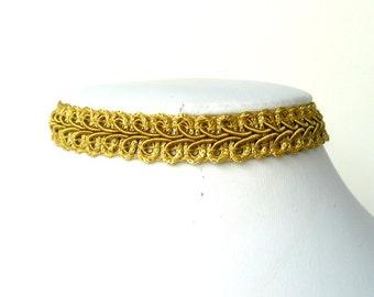 Gold Lace Choker, Goldenrod Vintage Style Choker, Gimp Ribbon Necklace, Victorian Inspired Necklace, Plain Chocker