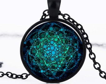 A beautiful necklace with a glass cabochon 25 mm flower of life, Yoga, Om, Chakra, mandala