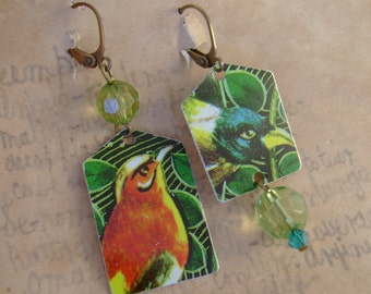 Bad Bird - Vintage Hand Cut Asymmetrical Birds Tin Beads Upcycled Repurposed Jewelry Earrings - 10 Year Anniversary Gift