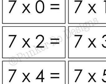 Multiplication - MATH - flash cards - 1x-12x - Instant Download Printable PDF - by Punker-do Designs - Classroom & Homeschool