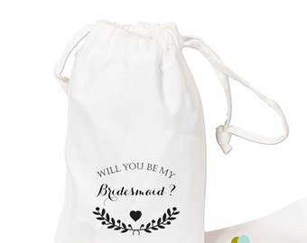 Will You Be My Bridesmaid Maid of Honor Gift Favor Bags white cotton with flower